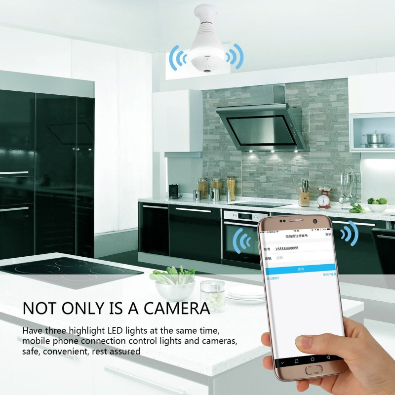 LED Lamp APP WIFI Control Camera 960P Mini Camera Lamp Light FishEye Smart Family 3D APP Camera 1.3MP Mini Camera<br>