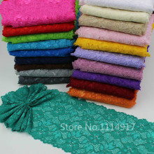 Shopkeeper recommend 21color Elastic Lace Fabric,DIY Garment Accessories,Sewing Swiss Trim Wedding Lace Material 16cm 5Yds/lot