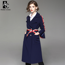 autumn winter woman trench dark blue knee length military style trench white red strip belt flare sleeve high quality trench(China)