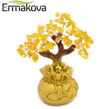 ERMAKOVA Feng Shui Wealth Crystal Money Tree Bonsai Style for Wealth Luck Home Shop Decor Birthday Business Gift(Yellow)(China)