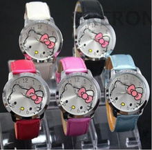 Hot Sales Cute Hello Kitty Watches Children Girls Woman Fashion Crystal Dress Quartz Wrist Watch For Gift Mix Colors