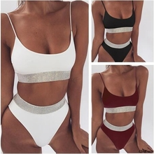 Buy Bikini 2018 Sexy Swimsuit Women Halter Bandage Swimwear Female Thong Bikini Set Push Bathing Suit Beach Suit Pad hot