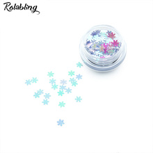 Rolabling 1PC/BOX Light Grey Snow Flake Design Nail Glitter Powder Dust Nail Art Design Powder UV Gel Polish Decoration Tool