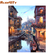 RUOPOTY Water City Landscape DIY Painting By Numbers Modern Wall Art Canvas Hand Painted Oil Painting Home Decor Artwork 40x50cm(China)