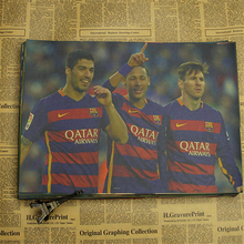 5 Sizes Famous Football Player MSN - Lionel Messi Neymar Suarez Barcelona Football P Poster Art Bedroom Decoration