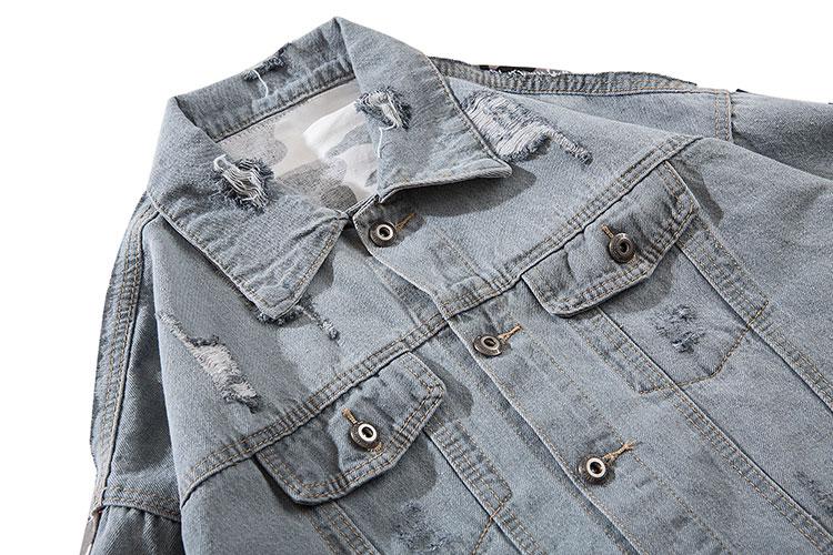 Camouflage Patchwork Ripped Denim Jacket 2