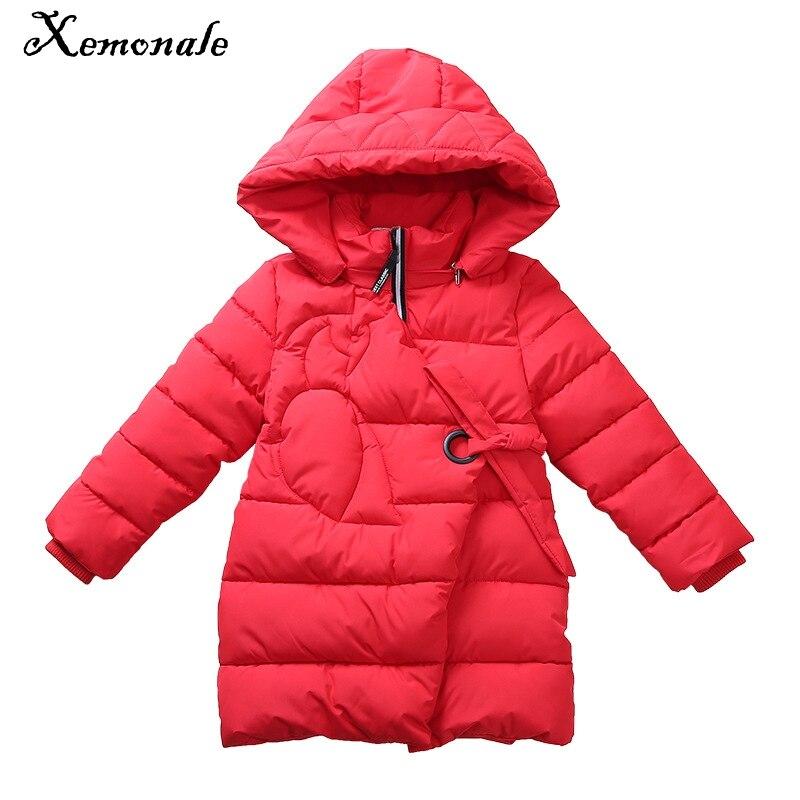 Xemonale Girls Childrens Clothing 2018 Winter New Children H-Type Fashion Ribbon Design Jacket Large Children Thicken Warm Coats<br>