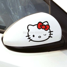 2 x Funny Hello Kitty Car Stickers Car Decrotative Decal for Tesla Toyota Chevrolet VolkswagenHyundai Kia Lada(China)