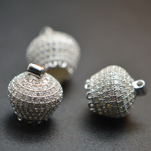 High Quality 925 Silver Paved CZ 13x15mm Crown Shape Bead Caps Fit Popular Tassel Pendant making Fashion Jewlry making(China)