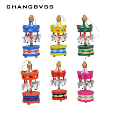 12 pcs/lot Wooden Carrousel Christmas Decorations for Home,New Year Decoration Toys,Navidad Christmas Tree Ornaments,Child Gift(China)