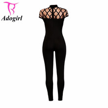 High Neck Hollow Out Bodycon Slim Long Rompers Fashion Plus Size Black/Red Bandage New Arrivals Monos Fitness Sportwear Jumpsuit(China)