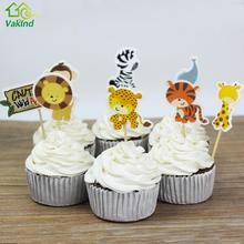 24pcs Jungle Safari Cupcake Picks Animal Cake Toppers Cartoon Cupcake Inserts Card Wedding Birthday Baby Kids Party Favors Gift