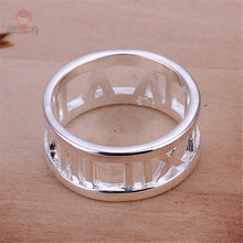 New Design Trendy Style Roman Letter Pattern Round Hollow Out Number Cute Women Rings Silver Plated Jewelry Special Gift SHAA050
