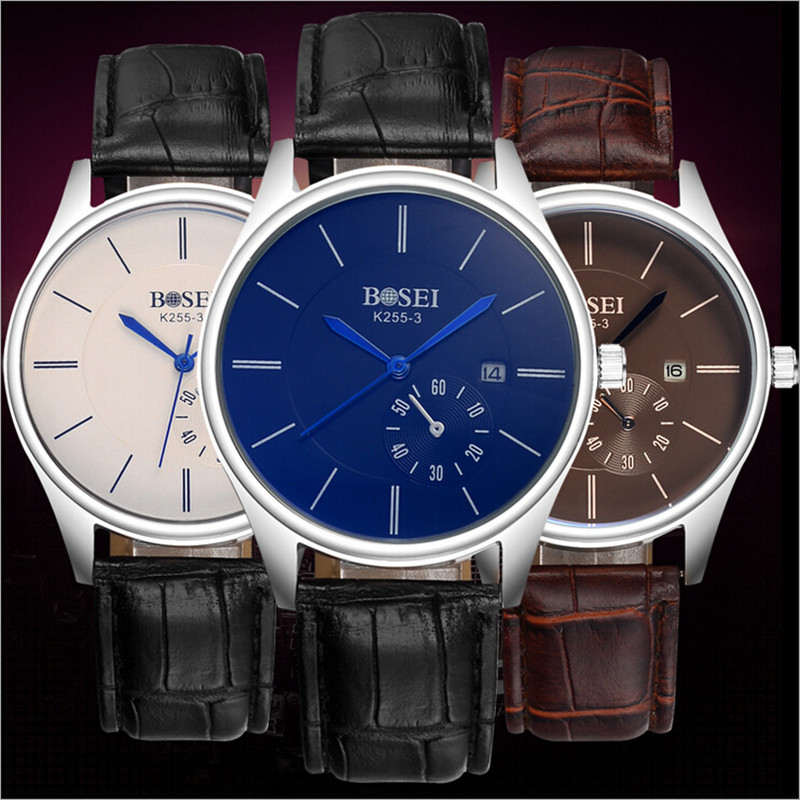BOSEI Watches Men  Luxury Brand Quartz Casual Fashion Business Sports Wristwatches Leather strap Analog Watch For Men Auto Date<br><br>Aliexpress