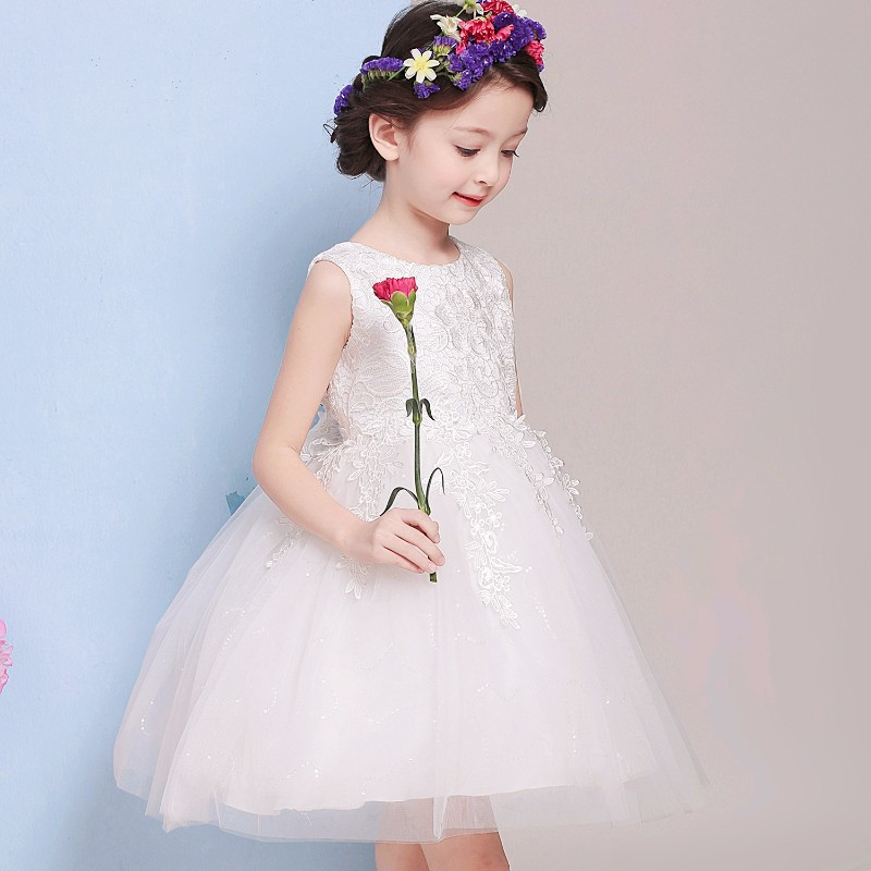 2016 Baby Girl Clothes Weddings Pageant White First Holy Lace Embroidery Flower Communion Dress Little Girls Children Bridesmaid<br>