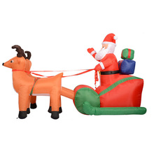 Inflatable Santa Claus Elks Green Car With Gift Christmas Toy 215cm Large Photo Props Children Adult Inflating Toys TD0054