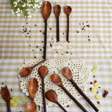 3 Pieces A Lot Nature Wood Flavoring Tea Coffee Spoon Soup 3 Different Length Spoons Straight Handle Handmade Kitchen Tools(China)