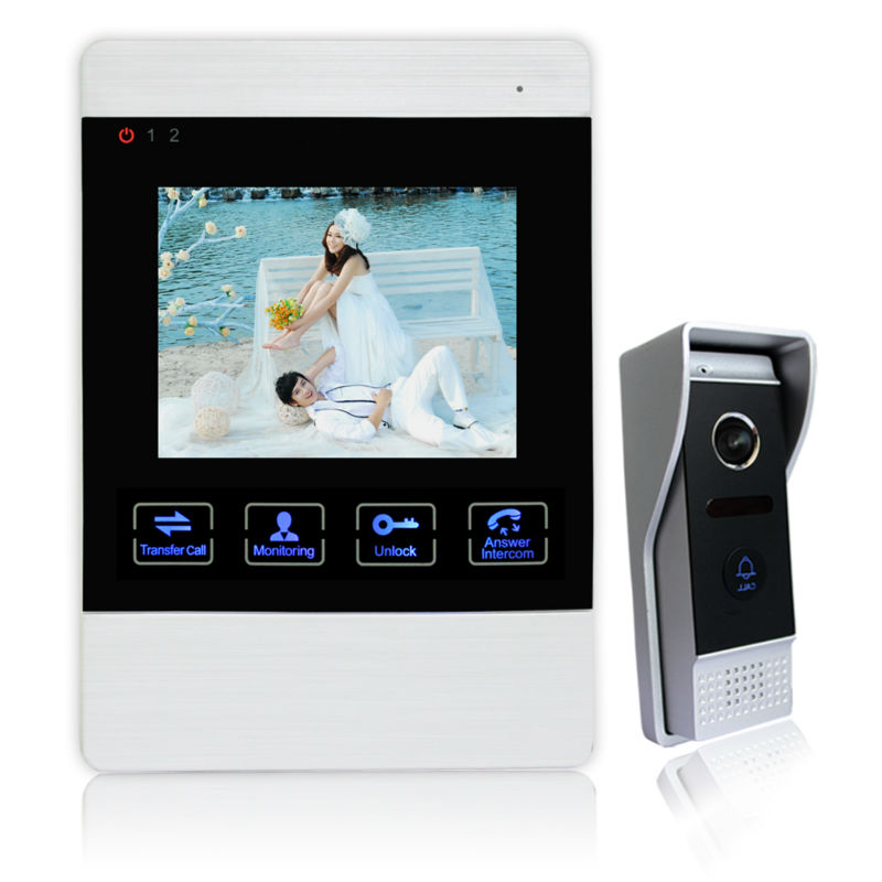 Homefong Home Surveillance 4 LCD Screen Monitor Video Doorbell Intercom Waterproof 2-way Intercom support SD card 1V1 Acrylic<br><br>Aliexpress