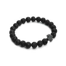 2016 New 8mm Natural Lava Stone Beaded Bracelet Men Hematite Gallstone Cross Bracelets Pulseras Hombre Yoga Jewelry F3761