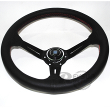 Original Logo Deep Black Spoke 350mm Genuine Leather Rally Racing Steering Wheel(China)