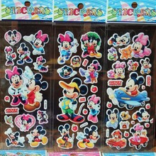 % 3 Sheets/lot 3D Cartoon Mickey Minnie animal wall stickers KidsToys Bubble stickers Teacher Children Gift Reward PVC Sticker