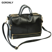 GORONLY Brand Leather Rivets Women Handbags Female Designer Shoulder Messenger Bags Fashion Motorcycle Bag Ladies Purses Bolsas