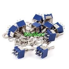 10 Pcs Miniature DPDT On/On 2 Positions Latching Toggle Switch AC 125V 6A
