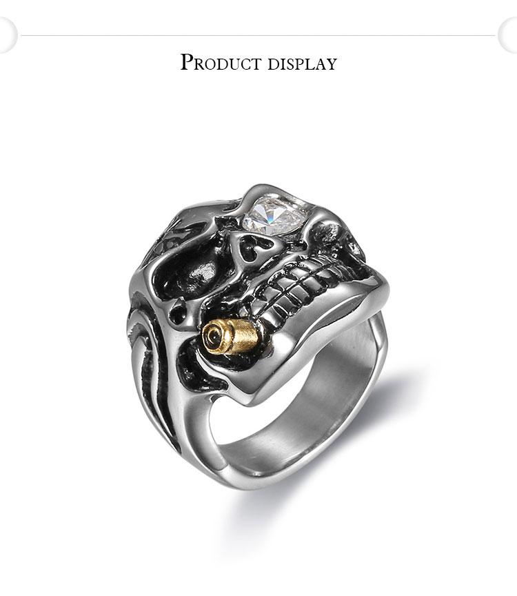 แหวนโคตรเท่ห์ Code 036 แหวนกะโหลกมาเฟีย เท่ห์ๆ กวนๆ สแตนเลส 5