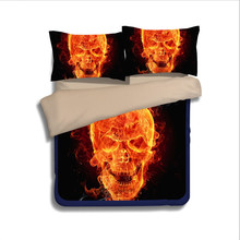 Flaming Skulls fire 3D bedding set Single Twin full queen king size comforter duvet covers bedclothes boy's bedroom decor orange