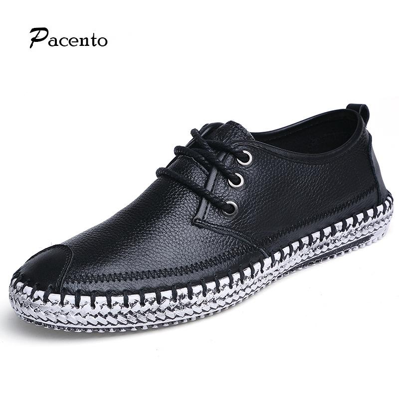PACENTO New Mens Shoes Genuine Leather Shoes High Quality Cow Leather Loafers Flats Big Size 11 12 Luxuru Brand Sapato Masculino<br>