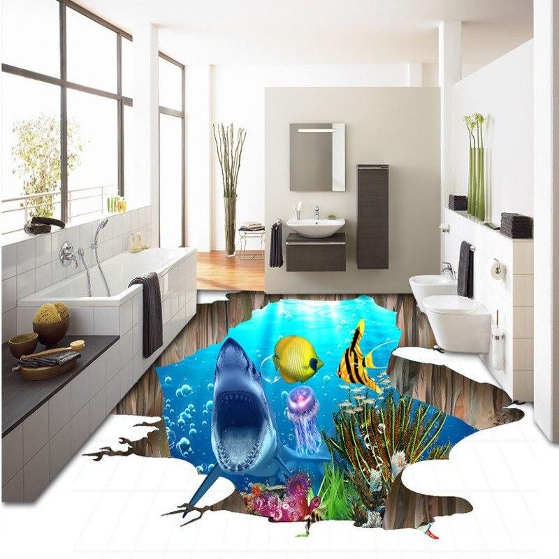 Free Shipping High Definition 3D Sea World Shark Flooring wear non-slip waterproof living room bathroom bedroom flooring mural<br><br>Aliexpress