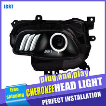 Car Styling For JEEP Cherokee headlights For Cherokee LED head lamp Angel eye led DRL front light Bi-Xenon Lens xenon HID(China)
