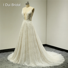 Sexy Wedding Dresses Deep V Front and Back Pearl Crystal Beaded Lace Bridal Gown New Style Factory Custom Made