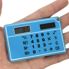 Blue Mini Handheld Ultra-thin Card Portable Calculator Calculator Solar Power Transparent Touch Screen Calculator