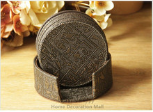 6PCS/set 10cm Round Leather Bar Coffee House Drink Cup Coaster Heat Insulation Pad Bar Dining Table Mats Ancient Egypt(China)