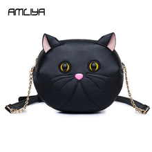2017 new arrival personality chain Crossbody packet Hello Cat bag women Shoulder Bags Fresh Small female shoulder Cartoon bags(China)
