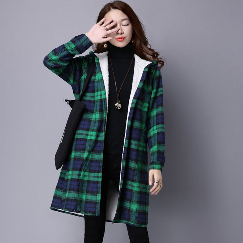 New Winter Plus Long womens Cotton liner coat 2016 Big yard women plaid grid long cotton and linen loose ladies winter hoodie Одежда и ак�е��уары<br><br><br>Aliexpress