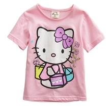 Kids Girls Clothes Baby Girl Cute Cartoon Hello Kitty T Shirts 2017 Summer Short Sleeve T-shirt Girls Pink Color Tops Tee Shirts