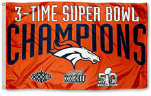 Denver Broncos 3 Time Super Bowl Champions Flag 150X90CM Banner 100D Polyester3x5 FT flag brass grommets 001, free shipping(China)
