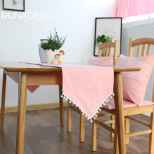 DUNXDECO Fresh Romantic Pink Little Ball Cute Frindge Linen Cotton Table Runner Party Tablecloth Kitchen Cover Decoration