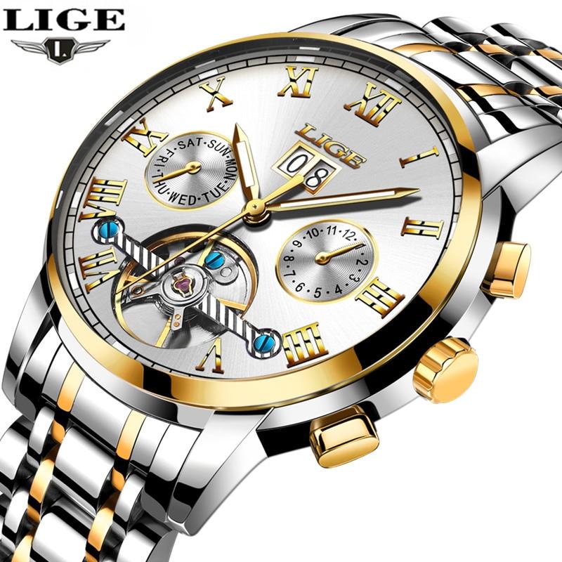 LIGEmens Watch Top Brand Luxury Mechanical Watch Mens Fashion Date Clock Steel Strap Fashion Casual Watch Mens Military Watch<br>