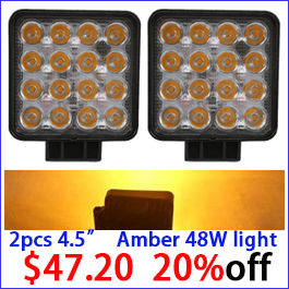 2PCS 48W amber yellow led work light