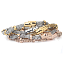 High quality Three Color stainless steel cable mesh bracelet chain bracelet for men or women(China)