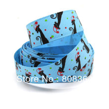 "5 Yards Blue Lovely Cat 1"" Wide Wedding Craft Printed Grosgrain Ribbon Gift Sewing Scrapbooking Decorative"