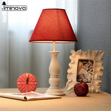 IMINOVO European Style Vintage Table Lamps Resin Linen Lampshade Desk Lighting Home Decor Switch ON/OFF For Bedroom Living Room