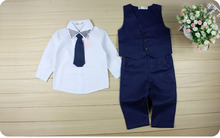 2016 Hot Baby Kids Boys Clothes Sets Rivets Turn-down Collar Suit Tops Shirt+Waistcoat+Tie+Pants 4PCS Children's Outfits Clothes