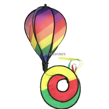Rainbow Stripe or Grid Windsock Hot Air Balloon Wind Spinner Garden Yard Outdoor Decoration