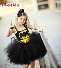 2017 New Latest Baby Girl Super Hero Tutu Dress Children Girl Halloween Costume Summer Dress Batman Teenage Girls Sundress