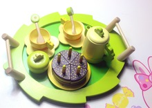 Afternoon tea toys set 20pcs Wood Children play house Restaurant France 3C Guarantee Water paint Smooth edges Tray+5pcs Cake+...(China)