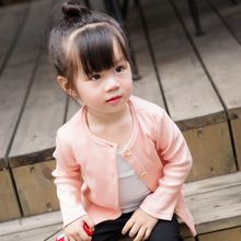 2017 New Baby Children Clothing Boys Girls Candy Color Knitted Cardigan Sweater Kids Spring Autumn Cotton Outer Wear 4 Color